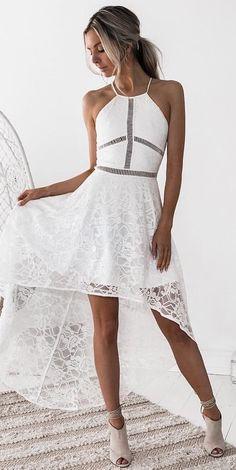 0590e56622e5 #fall #outfits women's white sleeveless low-high dress Bröllopsnatt,  Brudklänningar, Balklänningar