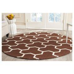 Delmont Texture Wool Rug - Dark Brown / Ivory (6' X 6' Round) - Safavieh, Dark Brown/Ivory