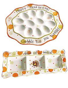 THANKSGIVING Gobble Wobble Ceramic DEVILED EGG Plate & DIVIDED Serving PLATTER