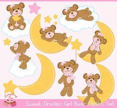 Sweet Dreams Girl Bear Clipart Set