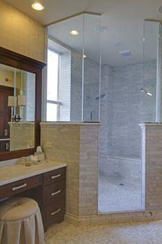 large corner shower with an exterior wall/window - want doors to outside