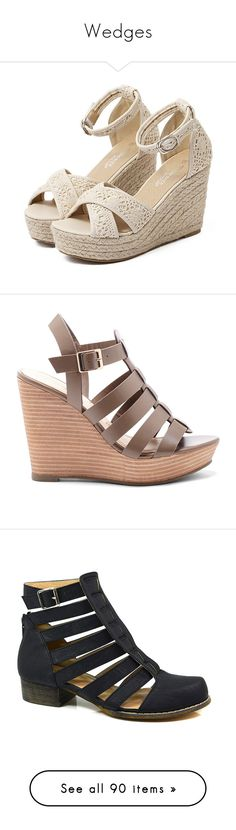 """Wedges"" by basicstarks ❤ liked on Polyvore featuring shoes, sandals, heels, mid heel sandals, platform wedge sandals, platform heel sandals, strappy platform sandals, heeled sandals, mushroom taupe and strappy leather sandals"