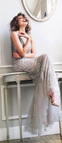 silver gray jeweled evening gown