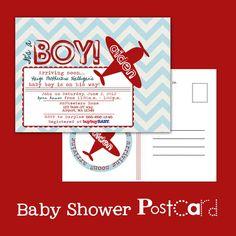Printable POSTCARD Vintage Airplane baby shower invitation — A Custom postcard Digital or Printed for you. $9.49, via Etsy.