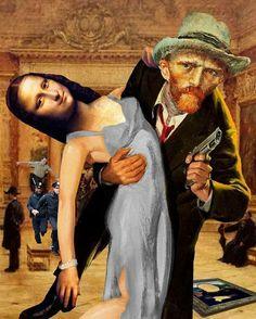 """#VincentVanGogh stealing the #MonaLisa #Art #Comedy #Funny #Jokes #StolenArtifact #TheFeds #FiveO #OneTime #OnTheRun #LeonardoDaVinci"""