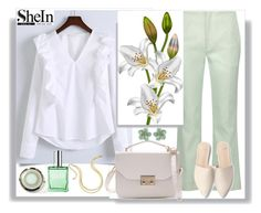 """""""Shein. White V Neck Ruffle Trim Buttoned Cuff Blouse"""" by natalyapril1976 ❤ liked on Polyvore featuring Roland Mouret, WithChic, Thalia Sodi and Sephora Collection"""