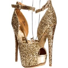 Gold open toe strap glitter accent platform high heels ($11) ❤ liked on Polyvore featuring shoes, pumps, heels, gold, high heel shoes, high heeled footwear, strappy pumps, platform shoes and glitter platform pumps
