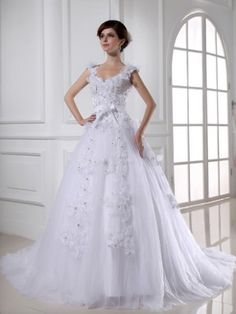 Ball Gown Straps Applique Sleeveless Sweep/Brush Train Tulle Wedding Dress - (missydress)