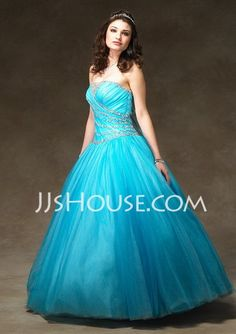 Quinceanera Dresses - $155.99 - A-Line/Princess Strapless Floor-Length Satin  Tulle Quinceanera Dresses With Ruffle  Beading (021002898) http://jjshouse.com/A-line-Princess-Strapless-Floor-length-Satin--Tulle-Quinceanera-Dresses-With-Ruffle--Beading-021002898-g2898