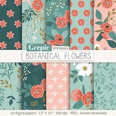 Flores papel digital: botánica vintage flores dibujado a por Grepic
