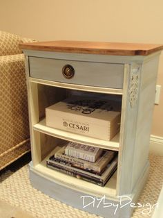 End Table Makeover - love the blue and cream! Leave shelves out or add baskets