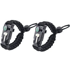 2 PCS PACK Multifunctional Paracord Bracelet VICTHY Outdoor Survival Kit With Compass Flint Fire Starter Scraper Whistle for Hiking Camping Emergency blackadjustable * Check this awesome product by going to the link at the image. Note:It is Affiliate Link to Amazon.