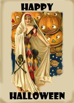"""""""All Hallowe'en, the magic night, when folly reigns supreme, the pumpkin heads are all alight. The stars are all agleam."""" From For over 600 of the best vintage Hallowe'en illustrations, see my. Masquerade Halloween, Halloween Magic, Holidays Halloween, Halloween Crafts, Happy Halloween, Halloween Stuff, Halloween Ideas, Halloween Pictures, Halloween History"""