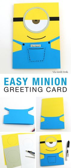 Use construction paper to create a simple Minion greeting card in 10 minutes. Th… Use construction paper to create a simple Minion greeting card in 10 minutes. This one is a birthday card but it would also make a good fathers day (or any occasion! Minion Birthday Card, Simple Birthday Cards, Birthday Cards For Boys, Bday Cards, Kids Birthday Cards, Funny Birthday Cards, Birthday Diy, Handmade Birthday Cards, Greeting Cards Handmade