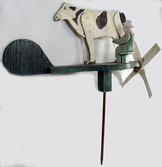 50% off on Saturday only, January 12th, 2013 - 24 hours - Ruby Lane - Vintage Folk Art Man Milking Cow Weathervane Whirligig