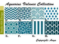 Blue Valance. Aquarius Valence. Aquarius Valance. Aquarius Window Treatment…