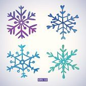 Set of watercolor snowflakes. EPS 10. No transparency. Gradient.