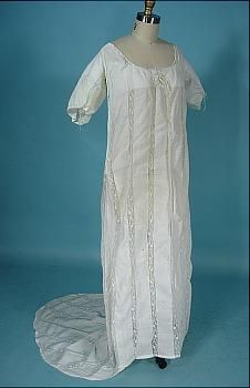 c. 1800 RARE Lace Inset Muslin Trained Gown! With Provenence Tag Owned by a Constance W. Jenks