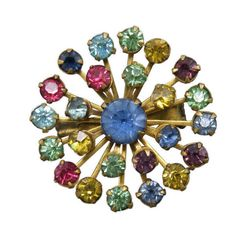 An explosion of gems burst open in this colorfully glamorous brooch in vibrant shades of the rainbow. | eBay!