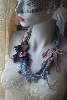 RESERVEDshabby chic soft braided necklace from by FleursBoheme