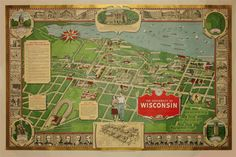 "This Map is On Wisconsin: This colorful pictorial map of the University of Wisconsin campus from the early 1950s is packed with information and numerous illustrations of buildings, activities, and university history, along with a few whimsical touches such as a badger, the school mascot, marching across campus. It was compiled and planned by Carl Beck, the alumnus who co-wrote the famous college marching band song, ""On Wisconsin!"" during his student years."