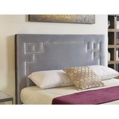 A little low. but attractive ABBYSON LIVING Deco Grey Velvet Nailhead Trim Upholstered Headboard