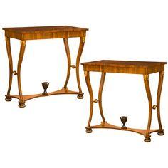 Pair of Biedermeier walnut console tables