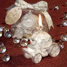 Send a bit of your fairy tale home with your guests with these Fairy Tale Coach #Wedding Candle #Favors. Elegant and sweet- they come wrapped in a clear box and tied with a glittery ribbon. http://www.favorfavor.com/page/FF/PROD/9407