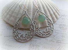 Aqua Chalcedony Teardrop earrings Large by HappyTearsbyMicah