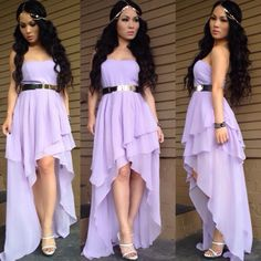 OOTD  Lavender tiered high-low strapless padded dress courtesy from my love J @HotMiamiStyles Inc Inc | in love with my Goddess head piece courtesy from @prettygirlswagvancouver