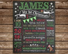 First Christmas Chalkboard sign, Baby's 1st Christmas, Personalized Christmas Gift, Chalkboard sign, Christmas Gift for baby, Baby Stats by TangledTulip on Etsy https://www.etsy.com/listing/209983923/first-christmas-chalkboard-sign-babys