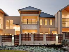 Photo of a corrugated iron house exterior from real Australian home - House Facade photo 365285 Brick Fence, Front Fence, Facade Design, Fence Design, Garden Retaining Wall, Retaining Walls, Brown Brick, Facade House, House Facades