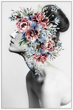 Marmont Hill Floral Thoughts White Wood Print - 18 x 12 Realistic Oil Painting, Oil Painting On Canvas, Body Painting, Collage Design, Collage Art, Surreal Art, Portrait Art, Portraits, Aesthetic Art