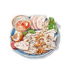 banh cuon, vietnamese flat rice noodles with nuoc mam fish sauce and pork patty cha lua Cute Food Art, Cute Art, Vietnamese Recipes, Vietnamese Food, Chibi Food, Food Sketch, Food Cartoon, Watercolor Food, Food Wallpaper