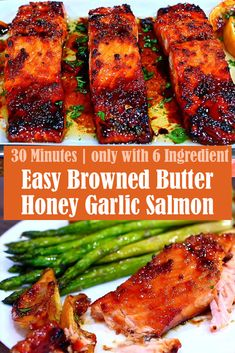 This delicious Browned Butter Honey Garlic Salmon is easy to make. This honey garlic salmon is salmon fillets seared to perfection and coated in a sweet and savory honey garlic sauce. The perfect easy and healthy dinner for a busy weeknight! Recipe Using Salmon, Honey Glazed Salmon Recipe, Honey Salmon, Garlic Salmon, Garlic Recipes, Honey Recipes, Fish Recipes, Seafood Recipes, Tilapia Recipes