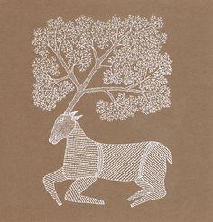 Gond art of India Scandinavian Folk Art, Scandinavian Embroidery, Pichwai Paintings, Madhubani Art, Deer Art, Indian Folk Art, Madhubani Painting, India Art, Indigenous Art