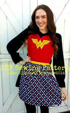 Adult/ Teen Wonder Woman PDF Sewing PATTERN. DC comics inspired costume Apron Cosplay Dress up Fits Girls size 9-12 and Women 0-12 Superhero