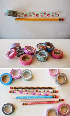 DIY Washi Tape Pencils - So cute, so easy! I definitely need to get some washi tape! You could also do this with duct tape Diy Washi Tape Pencils, Washi Tape Crafts, Washi Tapes, Masking Tape, Washi Tape Notebook, Cute Crafts, Crafts For Kids, Diy Crafts, Summer Crafts