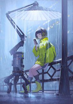 Umbrella Bot, by モグモ : Cyberpunk Cyberpunk Kunst, Cyberpunk Anime, Cyberpunk Girl, Character Concept, Character Art, Concept Art, Arte Peculiar, Cyberpunk Aesthetic, Anime Scenery