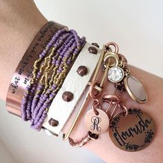 Check out all these new jBloom bracelet pieces stacked together! Leather & studs, handmade seed beads in purple, Midtowne cuff in brown, bangle with tons of charms. Completely personalized armcandy!  Shop at myjbloom.com/danajennings