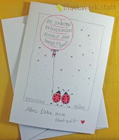 **Motiv: Marienkäfer mit Luftballon Hochwertige Klappkarte mit individuell auf deine Wünsche angepasster Gestaltung inclusive passendem Umschlag. DIE ganz besondere Karte zur Hochzeit oder zur...