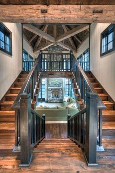 Rustic Home Design, Dream Home Design, My Dream Home, House Design, Rustic Homes, Double Staircase, Grand Staircase, Staircase Design, Spiral Staircases