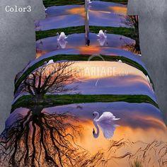 Romantique 3D linge de lit décoré avec les cygnes pas cher [#ROBE2012779] - robedumariage.com