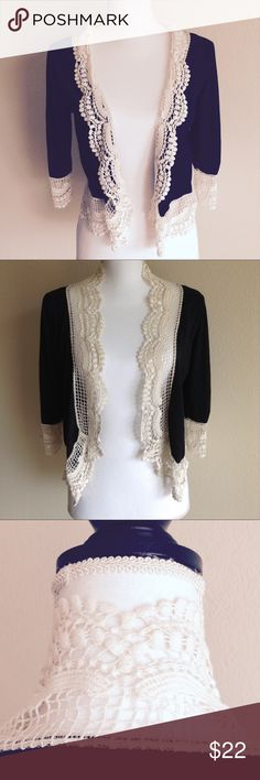 OPEN FRONT CROCHETED JACKET Adorable open front crocheted bolero The Pyramid collection Other