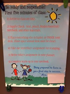 "Having a ""First Five Minutes"" poster gives students a sense of direction when they walk into the classroom. Although it will take a few weeks and lots of reminding to get students into the routine, giving them a task and a sense of responsibility when they walk into the room can redirect their behavior, especially after lunch or recess."