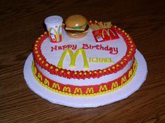 #McDonalds #Cake Mcdonalds Birthday Party, Cupcake Cakes, Cupcakes, Chocolate Fudge Cake, Amazing Cakes, Cookie Recipes, Deserts, Vintage Cakes, Sweets