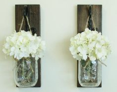 Rustic Farmhouse Knotty Pine Wood Wall Decor... 3 Individual Hanging Mason Jar Sconces on Stained Boards.Your choice of Colored Hydrangeas by cottagehomedecor