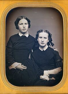 Sisters, more expressive than in many daguerrotypes. via Dennis A. Waters Fine Daguerreotypes
