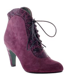 Eggplant The Going Rate Suede Bootie #zulily #zulilyfinds