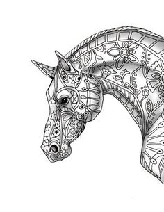 9 Free pages decorative horse profile for print-with shade